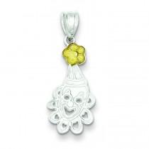 Clown Flower Charm in Sterling Silver