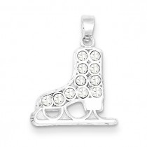 CZ Ice Skate Charm in Sterling Silver