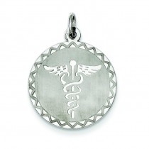 Caduceus Disc Pendant in Sterling Silver