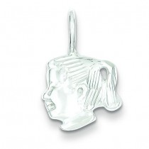 Girl Head Charm in Sterling Silver