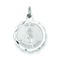 To My Flower Girl Disc Charm in Sterling Silver