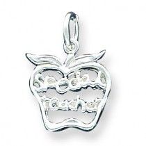 Special Teacher Apple Charm in Sterling Silver