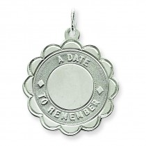 Date To Remember Disc Charm in Sterling Silver