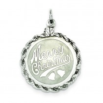 Merry Christmas Disc Charm in Sterling Silver