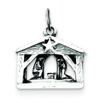 Antiqued Manger Charm in Sterling Silver