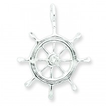 Boat Wheel Charm in Sterling Silver