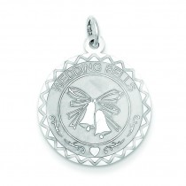 Wedding Bells Disc Charm in Sterling Silver