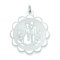 Bride Groom Disc Charm in Sterling Silver