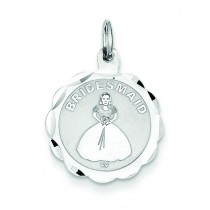 Bridesmaid Disc Charm in Sterling Silver