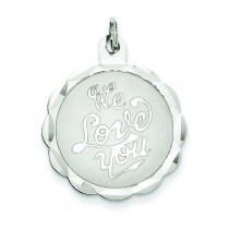 We Love You Disc Charm in Sterling Silver