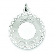 Happy Anniversary Disc Charm in Sterling Silver