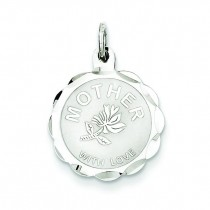Mother Love Disc Charm in Sterling Silver
