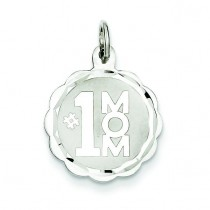 Mom Disc Charm in Sterling Silver