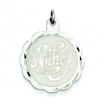 Mother Disc Charm in Sterling Silver