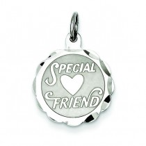 Special Friend Disc Charm in Sterling Silver