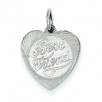 Best Friend Heart Disc Charm in Sterling Silver