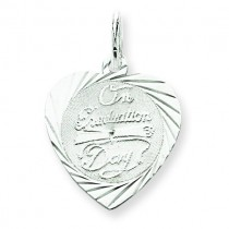 On Graduation Day Heart Disc Charm in Sterling Silver