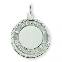 Happy Graduation Disc Charm in Sterling Silver