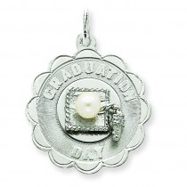 Graduation Day Disc Cultured Pearl Charm in Sterling Silver