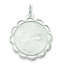 On Graduation Day Disc Charm in Sterling Silver