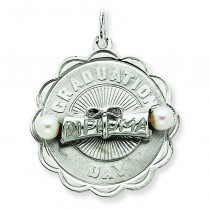 Graduation Day Disc Cultured Pearls Charm in Sterling Silver