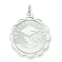Graduation Day Disc Charm in Sterling Silver