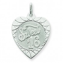 Sweet Sixteen Heart Disc Charm in Sterling Silver
