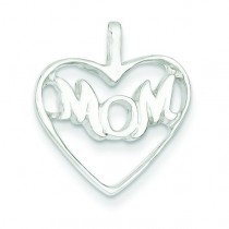 Mom Heart Charm in Sterling Silver