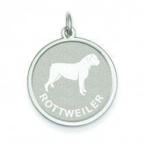 Rottweiler Disc Charm in Sterling Silver