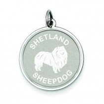 Shetland Sheepdog Disc Charm in Sterling Silver