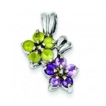 Amethyst Peridot Floral Pendant in Sterling Silver