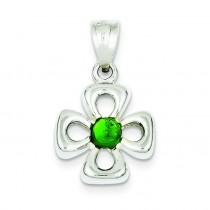 Green Stone Charm in Sterling Silver