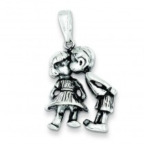 Antiqued Boy Kissing Girl in Sterling Silver