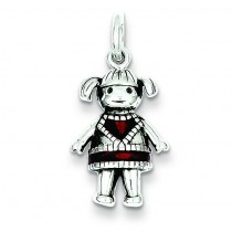 Oxdz Red Girl Pendant in Sterling Silver
