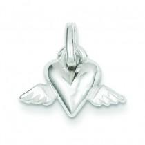 Heart Wings Charm in Sterling Silver