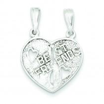 Best Friends Break Apart Heart in Sterling Silver