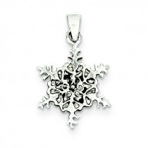 Antiqued Snowflake Pendant in Sterling Silver