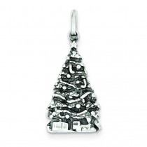 Antiqued Christmas Tree Charm in Sterling Silver