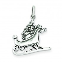 Antiqued Sleigh Charm in Sterling Silver