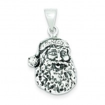 Antiqued Santa Head Charm in Sterling Silver