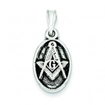 Antiqued Masonic Charm in Sterling Silver