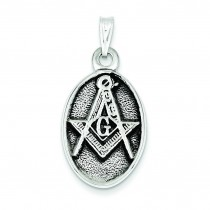 Antiqued Masonic Pendant in Sterling Silver