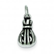Antiqued Money Bag Charm in Sterling Silver