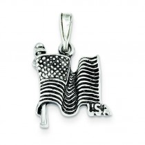 Antiqued Flag Pendant in Sterling Silver