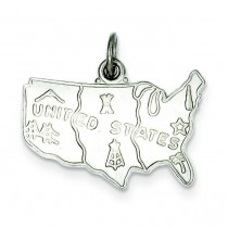 United States Charm in Sterling Silver