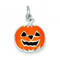 Orange Jack A Lantern Charm in Sterling Silver