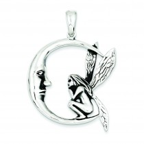 Antiqued Moon Fairy Pendant in Sterling Silver