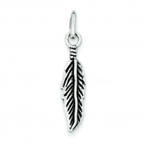 Antiqued Feather Charm in Sterling Silver