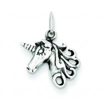 Antiqued Unicorn Head Charm in Sterling Silver