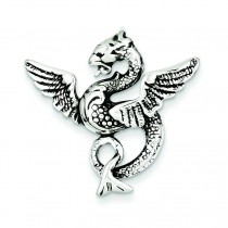 Antiqued Dragon Charm in Sterling Silver